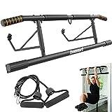 KOMSURF Pull Up Bar Doorway, Pullup Bar for Home, Multifunctional Chin Up Bar, Portable Fitness Door Bar , Body Workout Gym System Trainer (Black & Orange)