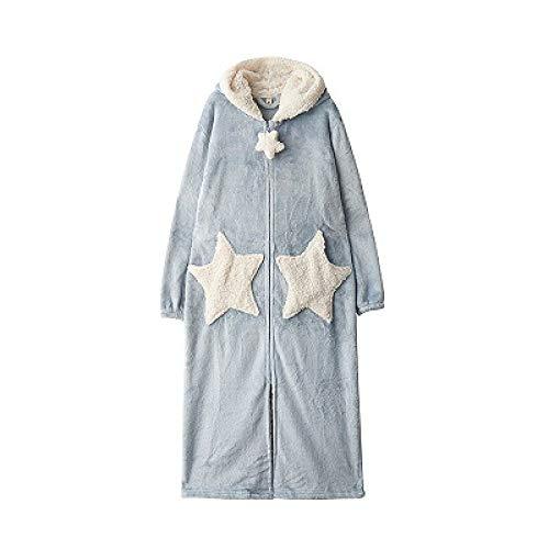 YPDM Vestido de Noche Invierno Gruesa Extra Larga Cremallera Pijama Bata Mujer Moda Estrella Luna Albornoz con Capucha Caliente Bata de Dama de Honor Suelta Bata, Estrella Azul, XL