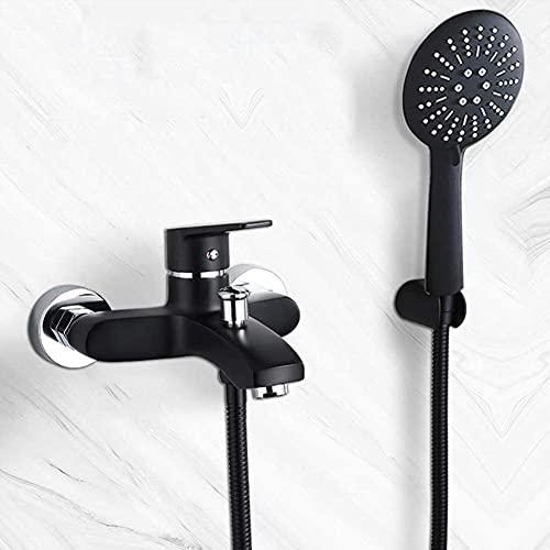 Grifo Mezclador de baño mezclador de bañera, grifo de ducha de pared con 3 funciones ducha de mano, mezclador de baño de latón negro, con soporte de pared de cartucho de cerámica, conjunto de ducha de
