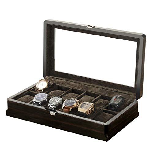 H.yina H.yina Watch Box Organizer Kissenbezug - 12 Slot Premium-Vitrinen mit gerahmter Metallschließe für Männer und Frauen