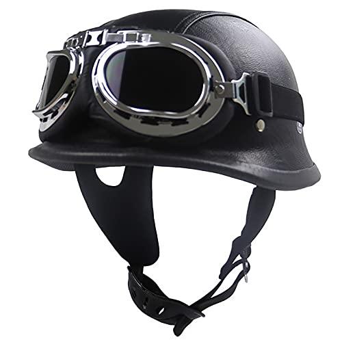 Casco de motocicleta vintage con diseño de calavera alemán, casco abierto para motocicleta, aprobado por DOT, medio cascos para adultos y hombres, con gafas y cómoda barbilla A, XL = 61 ~ 62 cm