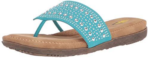 Volatile Women's Thong Flat Sandal, Turquoise, 9