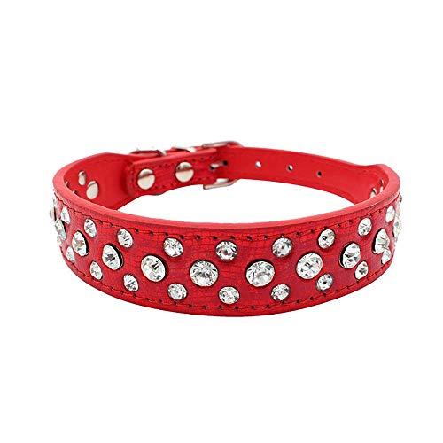 Smniao Hundehalsband Breit Leder Glänzendes Strass Design, Weiches Verstellbares Halskette Halsband für Kleine Mittlere Große Hunde (XS, Rot)