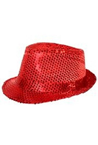 Fantastic Prices! Red Sequin Fedora Hat, 8in x 6 1/2in x 4in