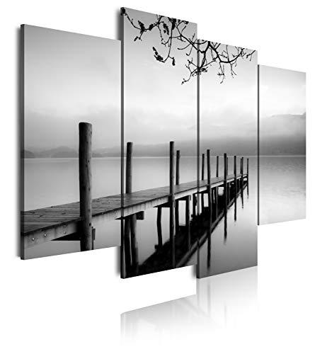 DekoArte 167 - Cuadros Modernos Impresión de Imagen Artística Digitalizada | Lienzo Decorativo para Tu Salón o Dormitorio | Estilo Zen Blanco y Negro Paisaje de Agua Embarcadero | 4 Piezas 120x90cm
