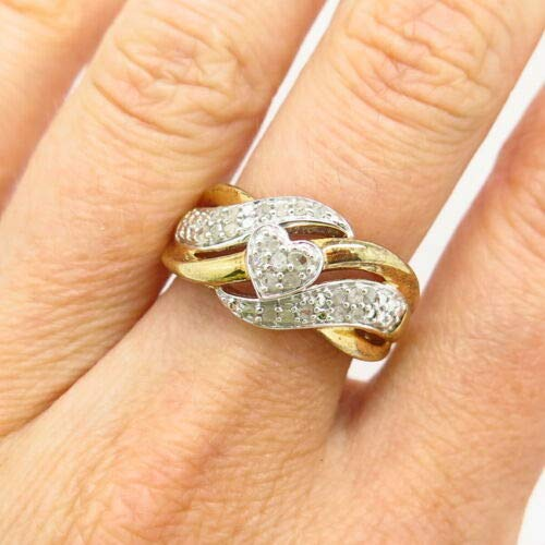 925 Sterling Gold Plated JWBR Kay Jewelers Real Diamond Heart Ring Size 6 3/4 Christmas Gift by Wholesale Charms
