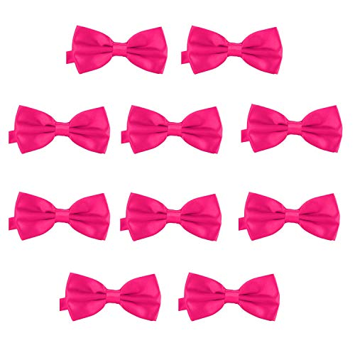 DonDon 10er Set Herren Fliege 12 x 6 cm gebunden und längenverstellbar pink