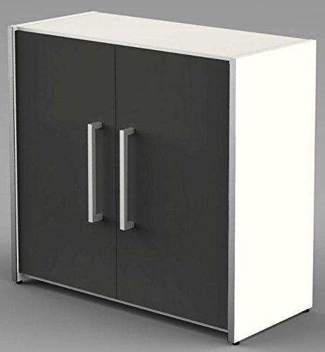 Form 4 Aktenschrank 2 OH Büroschrank Schrank Sideboard Weiß/Anthrazit