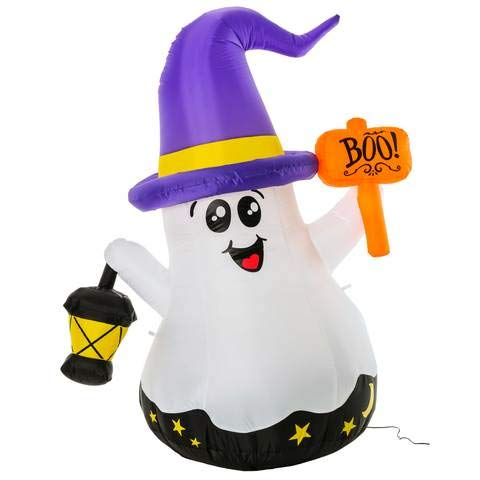 GOOSH Halloween Inflatable Blow Up White Ghost with Hand-held Light for Inflatables Halloween Outdoor Yard Decoration (5 Foot Halloween Inflatable White, 5)