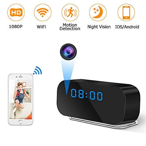 Cámara Espía Oculta, UYIKOO WiFi Cámara Oculta Reloj HD 1080P Cámara Espía Inalámbrica con Soporte de Lentes de 150° de Ancho Visión Nocturna y Detección de Movimiento para iOS/Android