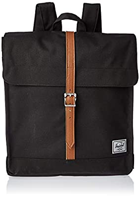Herschel City Backpack, Black/Tan Synthetic Leather, Mid-Volume 14.0L