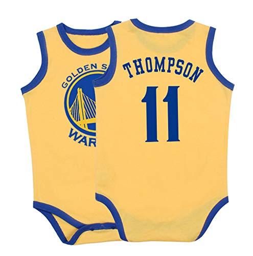 YANGLIXIA Baby ärmelloser Krabbelanzug Klay Thompson #11 Basketball Trikot Größe 6-30 Monate Säugling Kinder Basketball Uniform Jumpsuit gelb-60