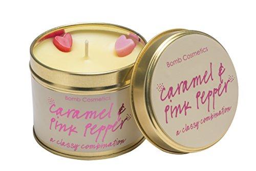 Bomb Cosmetics caramel und rosa Pfeffer Duftkerze mit Brenndauer 30–35Stunden, Dose, beige, 7X 7X 7cm
