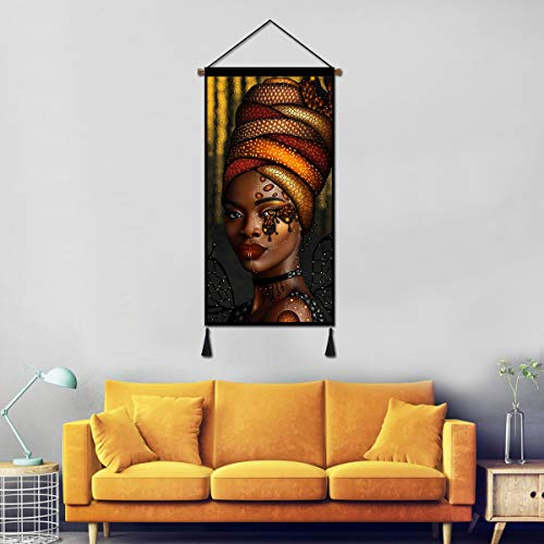 Vintage Hanging Poster Canvas Wall Art, African King and Queen Oil Painting Prints Tapestry Linen Scroll with Tassels, Decoration for Home Dorm Office 18X36 Inch (Snake Madam)