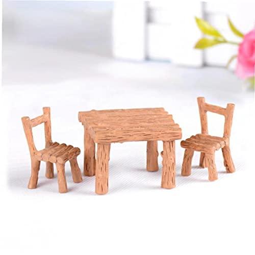 Onsinic 3 Unids Miniaturas Muebles Resina Mesa Sillas Micro Paisaje Decoración Patio Y Accesorios Jardín