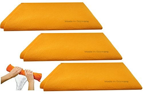 3pk Original German Shammy Towels Super Absorbent Chamois Cloths Large Size 20x27 Inch For Home Kitchen Bathroom Car Pet Stains (Orange)