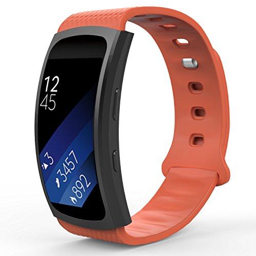 MoKo Samsung Gear Fit2 Correa, Fit 2 Pro Pulsera Deportiva Silicona Suave Reemplazo Sport Band para Samsung Gear Fit 2 SM-R360 Smart Watch, Naranjado (3 Piezas de Bandas Incluido para 2 Longitudes)