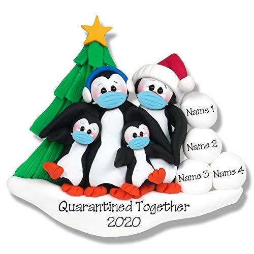 Covid 19 Penguin Family of 4 w/Face Masks/Coronavirus Personalized Ornament