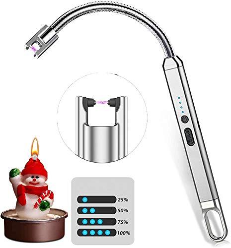 Chang Encendedor electrónico USB, plasma, resistente al viento, encendedor de arco eléctrico, indicador LED de batería e interruptor de seguridad, triple luz larga para barbacoa/cocina (plateado)