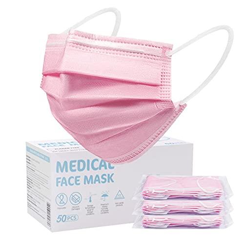 SOYES 50 Stück Einwegmaske TYP IIR 3 lagig Masken CE Zertifiziert- Mundschutz Einweg maske für Erwachsene, Medizinische Masken,Mund Nase Schutzmaske Staubmaske Atemmaske, Rosa