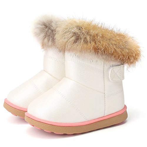 CIOR Toddler Snow Boots for Girls Boys Winter Warm Kids Button Boots Outdoor Shoes TXA-88-White-24