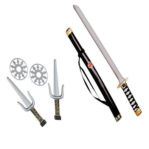 Widmann 27271 - Ninja Waffenset, 1 Schwert mit Scheide, 2 Dolche, 2 Shuriken, Accessoire, Mottoparty, Karneval
