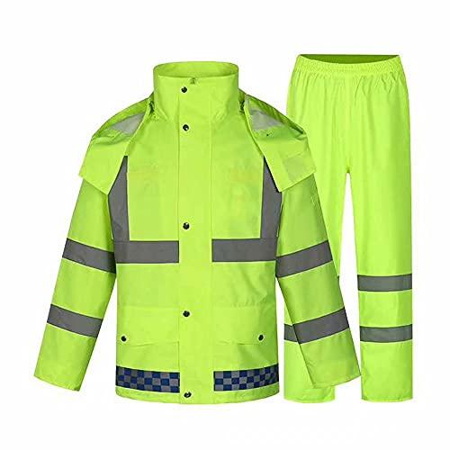 CUIJU Chaqueta Impermeable para Hombre con Capucha, Traje Impermeable y pantalón Ropa de Trabajo Hombre Ciclismo al Aire Libre,Verde,L