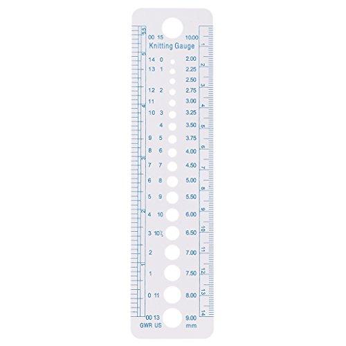 F Fityle Nadelgrößenschablone, Stricknadel-Maß, Zoll- und cm-Lineal aus Kunststoff