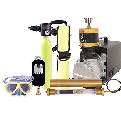 Equipo de buceo (compresor de aire, tanque de buceo, respirador de boca, guarnición para cilindros, adaptador de repuesto, gafas de buceo, filtro de desecante)