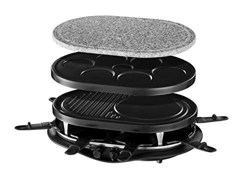 Russell Hobbs Fiesta - Raclette 4 en 1 (8 Mini Sartenes, Piedra Carne, Grill, Crepera, 1200W, Negro) -ref. 21000-56