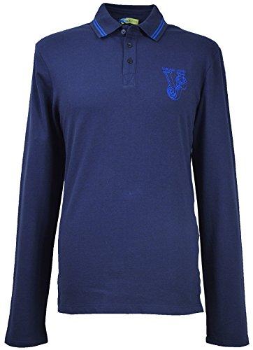 Versace Jeans Herren Big Logo Lange Ärmel Polo Shirt b3gib720Marineblau Gr. Medium, Blau - Navy
