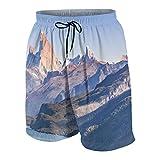Hombres Casual Pantalones Cortos,Escena del Paisaje patagónico Argentino con el Lago y la Famosa montaña de los Andes Fitz Roy como Tema princip,Traje de Baño Playa Ropa de Deporte con Forro de Malla