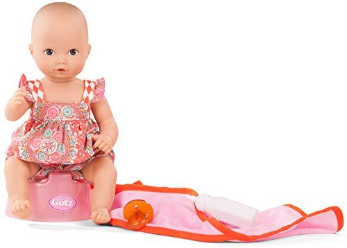 Götz 1853035 Aquini Mädchen Vintage Puppe - 33 cm Badepuppe mit Zubehör, braune Augen, ohne Haare 7-teiliges Set - Babypuppe ab 18 Monaten