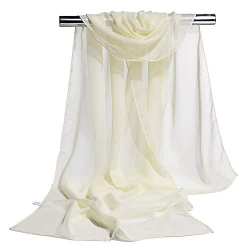 JUNGEN Pañuelo de Seda Elegante Suave Larga Bufanda Estola Chal Delgada del Mantón de Gasa para Mujeres de el 160 * 50cm