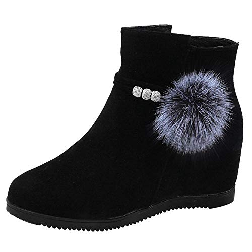 Logobeing Botines Mujer Planos Tacon Zapatos de Mujer Plataforma Botas de Cuña de Punta Redonda con Cremallera Altas Boots Zapatos Calzado(39,Negro)