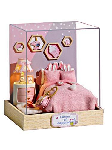 [リトルスワロー] DIY ドールハウス ミニチュアハウス LEDライト付き 手作りキット 小さな部屋 幸せのシングルルーム 3Dキット ホビー 置物 おもちゃ ライト モデル 可愛い ボックス ウッド (ベッドルーム)