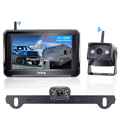Yakry Y33 HD 1080P Digital Wireless Dual Backup Camera Hitch Rear View Camera for RVs,Trailers,Trucks,5th Wheels,Cars 5''Monitor with Highway...