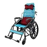 OLDHF Autopropulsable Silla de Ruedas Plegable, con Frenos de Mano, Tipo Plegables de Media Mentira, reposapiés Ajustables,Ruedas a Prueba de pinchazos, para Ancianos, discapacitados,Azul