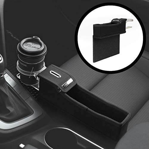 KMMOTORS Coin Box Side Pocket Black Console Side Organizer Seat Gap Filler Console Side Organizer Multi-Functional Storage (Black. Passenger. With Cupholder)
