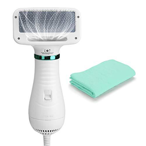 Ownpets Hundefön 2 in 1 Haustier-Haartrockner Bürste Einstellbare Temperatur Tierfön Dryer für Hund, Katze oder andere Haustiere 300W