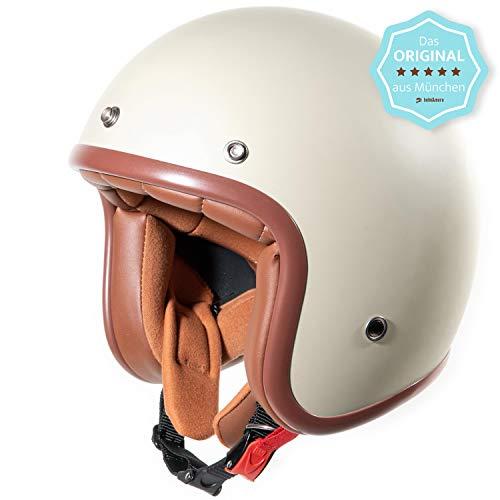 HauptSache Fräulein Irmi Original• Jet Helm Roller-Helm, Creme-Matt, Elfenbein, Vespa-Helm, Cremefarben, Roller-Helm Pilot Retro Damen Jet-Helm Scooter-Helm Motorrad-Helm Klassisch Vintage · ECE (XS)