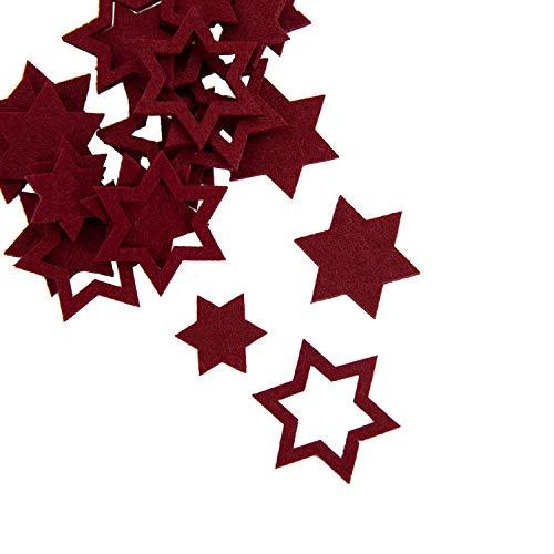 Oblique Unique® 24 Filz Sterne Weihnachtsdeko Tischdeko Weihnachten Deko 3 Motive - Farbe wählbar (Rot)