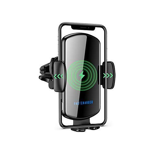ZHIKE Cargador Inalámbrico Coche, Inducción de Carga Qi de 15 W, Soporte para Teléfono con Ventilación de Aire para Coche, para iPhone 11/11 Pro / 11 Pro MAX/XR/XS/X, Samsung S20 / Note 10 / S10