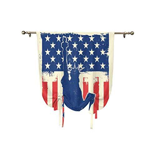 4th of Julio - Cortinas opacas con diseño de día de la independencia con botón de estrella y rayas de rayos solares con aislamiento térmico, 137 x 150 cm, para decoración del hogar, color rojo y azul