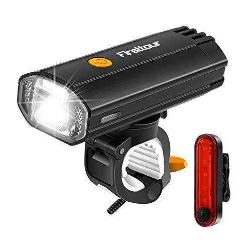 Firsttour 4000mAh Super Bright Bicycle Light, Lasting About 9 Hours, USB Rechargeable Bike Light Set, Mountain Bike Lights, 4 Light Modes Suitable for All Bicycles