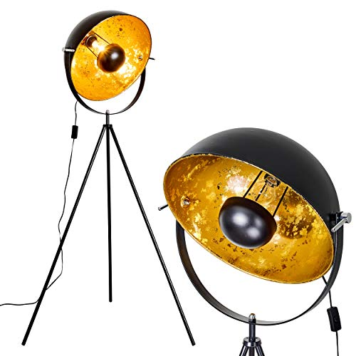 Staande lamp Saturnus, vintage vloerlamp met lampenkap in goud/zwart metaal, Ø 43 cm, E27 fitting, max. 40 Watt, verstelbare vloerlamp in retro-uitvoering, ook geschikt voor LED-lampen