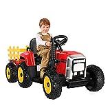 Tractor Eléctrico con Remolque, Tractor de Batería 12V 7AH,Motor de 35W y Rueda EVA, Control Remoto, 2+1 Cambios de Marchas, Bocina, Bluetooth, USB, Reproductor de MP3, Faro de 7 LED (Rojo)