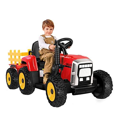 Tractor Eléctrico con Remolque, Tractor de Batería 12V 7AH,Motor de 35W y...