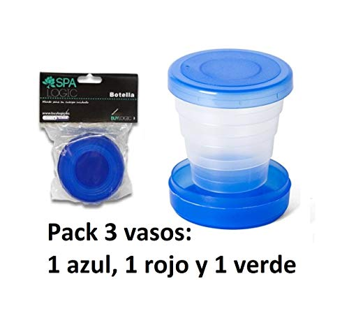 NAHUEL HOME Pack x3 Tazas Plegables Vasos Plegables de Viaje Verde/Azul/Rojo