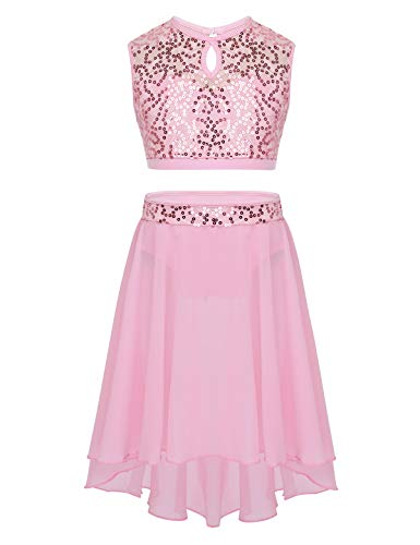 CHICTRY Youth Big Girls Lyrical Dance Dress 2 Piece Sequins Floral Lace Chiffon Party Ballroom Dancing Ballerina Costumes Pink 10 12 Years